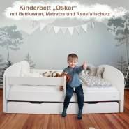 Alcube 'Oskar' Kinderbett 80x160 cm mit Rausfallschutz, Lattenrost, Matratze und Schublade, weiß
