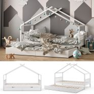 VitaliSpa 'Design' Hausbett 90x200 cm, weiß, Kiefer massiv, inkl. Gästebett und Lattenrost