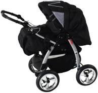 iCaddy 3 in 1 Kombi Kinderwagen Komplettset mit Autositz Cosmic Black & Cosmic Black mit Isofix-Ausstattung mit Winterfußsack Fleece ohne Sonnenschirm