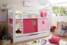 Ticaa 'Sammy' Etagenbett weiß, inkl. Vorhang Uni Rosa/Pink