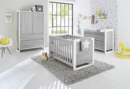 Pinolino 'Curve' 3-tlg. Babyzimmer-Set grau/weiß