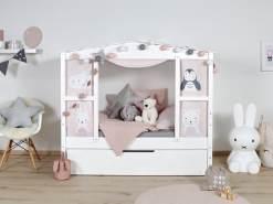 Ticaa 'Mini' Hausbett mit Bettkasten 'Amelie' Kiefer Weiß 80x160