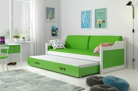 Stylefy Tore Funktionsbett 80x190 cm Weiß Grün