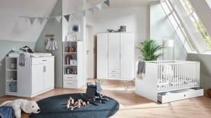 Babyzimmer KIEL Kinderzimmer Set groß modern weiß 4-teilig