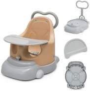 COSTWAY 6 in 1 Baby Stuhl Sitzerhoehung & Baby Walker & Bodensitz & Essgruppe & Rutschsitz & Duschstuhl mit feststellbaren Universalraedern, Sicherheitsgurt und abnehmbarem Tablett Orange