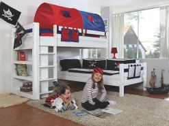 Relita Etagenbett BENI L Buche massiv weiß lackiert, 2 Liegeflächen über Eck, mit Stoffset blau/rot