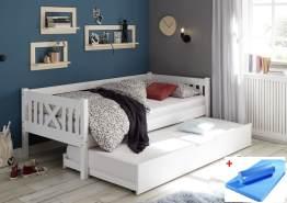 Bega 'Trevi' Kinderbett 90x200 cm, weiß, Kiefer massiv, inkl. Bettliege und Matratze (blau)