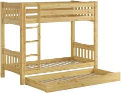 Erst-Holz Etagenbett Kiefer 90x200 cm inkl. Bettkasten, natur