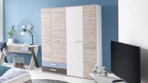FMD furniture Kleiderschrank, Spanplatte, Sandeiche/farbig, ca. 149,5 x 192 x 60