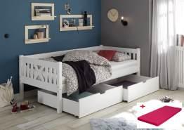 Bega 'Trevi' Kinderbett 90x200 cm, weiß, Kiefer massiv, inkl. 2 Bettkästen und Matratze (pink)