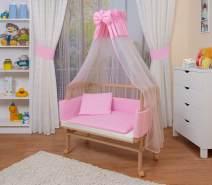 WALDIN Beistellbett mit Matratze und Nestchen, höhenverstellbar, Ausstattung rosa/weiß, Gestell Natur unbehandelt