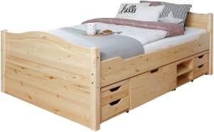 Ticaa Einzelbett 'Leni' 120x200 Kiefer massiv - mit 4er Funktionsschubkästen - natur