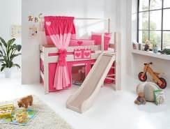 Relita 'LEO' Hochbett mit Rutsche White Wash, Stoffset Pink/Herz ohne Matratze