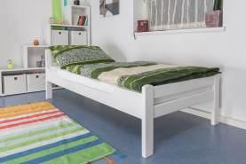 """Einzelbett""""Easy Premium Line"""" K1/2n, Buche Vollholz massiv weiß lackiert - Maße: 90 x 200 cm"""