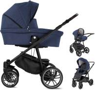 Friedrich Hugo PCS_FH-BEAT-DE-AIR-582C Minigo Beat, 3 in 1 Kombi Kinderwagen Luftreifen Blue, blau