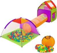 Tectake - Spielzelt mit Tunnel, 200 Bällen und Tasche bunt
