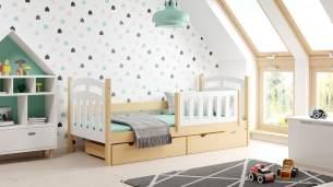 Kinderbettenwelt 'Susi' Kinderbett 90x200 cm, weiß/natur, Kiefer massiv, inkl. Lattenrost, zwei Schubladen und Matratze