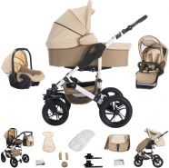 Bebebi Florida | 3 in 1 Kombi Kinderwagen Komplettset | Luftreifen | Farbe: Flocream