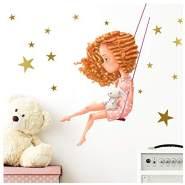 Little Deco 'Mädchen mit Hase auf Schaukel' Wandaufkleber 83 x 52 cm (BxH)