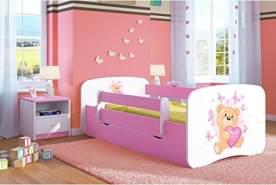 Kocot Kids 'Teddybär mit Schmetterlingen' Kinderbett 70 x 140 cm Rosa, mit Rausfallschutz, Matratze, Schublade und Lattenrost