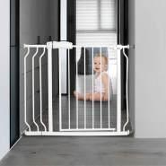 COSTWAY Treppenschutzgitter Babygitter weiß ohne Bohren, erweiterbar von 74-98cm