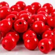Holzperlen, D: 12 mm, Lochgröße 3 mm, Rot, 22g, ca. 40 Stück