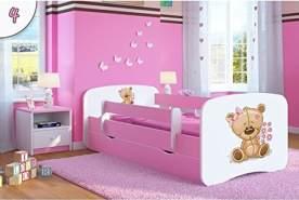 Kocot Kids 'Teddybär mit Blumen' Kinderbett 80 x 180 cm Rosa, mit Rausfallschutz, Matratze, Schublade und Lattenrost