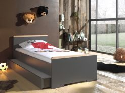 Vipack 'London' Einzelbett inkl. Schublade 90 x 200 cm Dekor Anthrazi/Absatz Buche natur massiv
