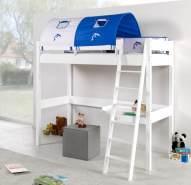 Relita 'RENATE' Multifunktionsbett mit Schreibtisch weiß, Stoffset Weiß/Delfin mit Matratze