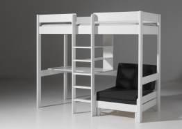 Vipack 'Vilvi' Funktions-Hochbett weiß, inkl. Schreibtisch, Sessel und Sesselmatratze