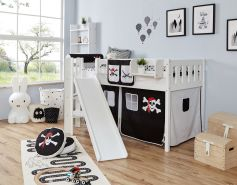Ticaa 'Ekki' Podestbett Vertikal Buche Weiß, 90 x 200 cm, Vorhang Pirat Schwarz-Weiß (Ausführung 1)