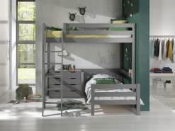 Vipack Winkel Hochbett mit 2 Liegeflächen 140/90 x 200 cm und Schubladen Kommode, Ausf. grau lackiert