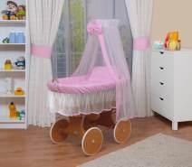 WALDIN Stubenwagen-Set mit Ausstattung Gestell/Räder natur lackiert, Ausstattung rosa/weiß