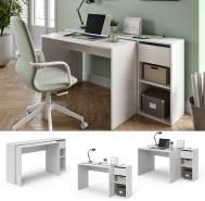 Vicco 'Ben' Schreibtisch, Weiß, ausziehbar, mit USB-Ladestation/USB-Hub
