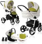 Bebebi Fizzy | Luftreifen in Weiß | 3 in 1 Kombi Kinderwagen | Farbe: Avocado
