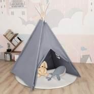vidaXL Kinder Tipi-Zelt mit Tasche Pfirsichhaut Grau 120x120x150 cm