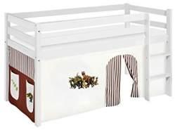 Lilokids 'Jelle' Spielbett 90 x 190 cm, Dinos Braun Beige, Kiefer massiv, mit Vorhang