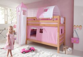 Relita Etagenbett BENI Buche massiv natur lackiert mit Textilset rosa/weiß/herz