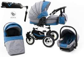 Tabbi ECO LN | 4 in 1 Kombi Kinderwagen | Hartgummireifen | Farbe: Lightblue