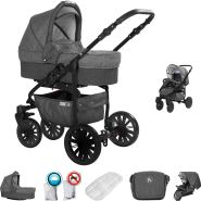 Friedrich Hugo Berlin | 2 in 1 Kombi Kinderwagen | Luftreifen | Farbe: Dark Grey and Grey Night
