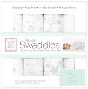 Swaddle Designs 'Muslin Swaddles' 4-er pack Pucktücher Guten Nacht Sternenlicht/Silberfarben