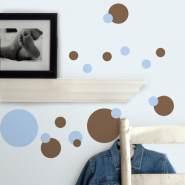 RoomMates Wandtattoo 'Punkte Blau & Braun'
