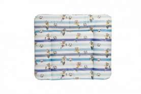 Wickelauflage ED FUSSBALLER 85x72 cm | Wickelunterlage abwaschbar & wasserdicht | Öko-Tex schadstoffgeprüft | einzigartiges Design in drei Motiven (Streifen blau/weiß)