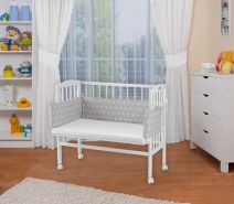 WALDIN Beistellbett mit Matratze, höhenverstellbar, Große Liegefläche, Ausstattung Sterne-weiß, Gestell Weiß lackiert