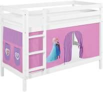 Lilokids 'Jelle' Etagenbett 90 x 190 cm, Eiskönigin Lila, Kiefer massiv, mit Vorhang und Lattenroste