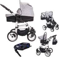 Bebebi Paris - 4 in 1 Kinderwagen Komplettset - Isofix Basis und Autositz Tour Eiffel Roues moussant