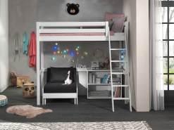 Vipack Hochbett weiß 90 x 200 cm inkl. Sesselbett und Regal mit zwei Fächern