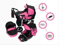 Jackmar Jacky | Luftreifen in Schwarz | 4 in 1 Kinderwagen Set + ISOFIX | Farbe: Schwarz & Pink