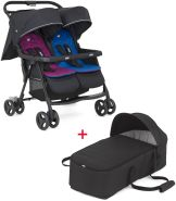 Joie 'Aire Twin' Zwillingswagen Buggy Rosy & Sea mit Soft Tragetasche black