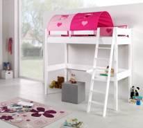 Relita Hochbett RENATE Buche massiv weiß lackiert, mit Schreibtisch und Tunnel, pink/herz